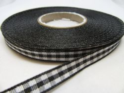 Black 2 metres or full roll x 6mm Gingham Ribbon Double Sided check UK (1)